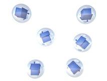 3d a rendu des maisons dans les bulles Image stock