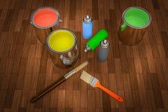 3D a rendu des outils de peinture pour la peinture du bois Photos libres de droits