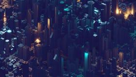 3d rendu, fond numérique abstrait, grandes données, réseau informatique de quantum, ville de cyber illustration libre de droits
