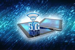 3d rendu, 5G réseau, concept de la connexion 5G illustration de vecteur