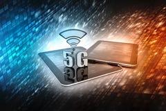 3d rendu, 5G réseau, concept de la connexion 5G illustration stock