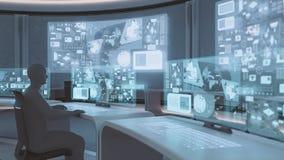3D rendu, intérieur moderne et futuriste de centre de commande avec des personnes Images libres de droits