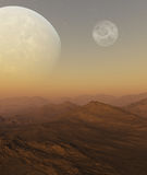 3d a rendu l'art de l'espace : Planète étrangère Images libres de droits