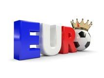 3d a rendu l'euro mot avec du ballon de football et la couronne au-dessus de W Photo stock