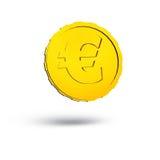 3D a rendu l'euro pièce de monnaie d'or d'isolement sur le fond blanc avec des ombres Image stock