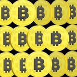 3D a rendu l'illustration de collage de Bitcoin images libres de droits