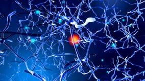 3D a rendu l'illustration de la transmission de signal dans un neuronal illustration stock
