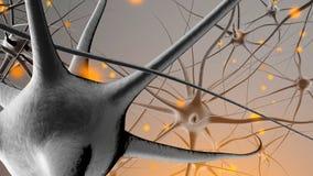 3D a rendu l'illustration de la transmission de signal dans un neuronal illustration libre de droits
