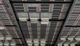 3D a rendu l'illustration des serveurs dans le datacenter Photos stock