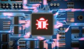 3D a rendu l'illustration du malware ou du virus à l'intérieur de la puce sur le circuit électronique Sécurité d'Internet Photos stock