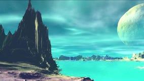3d a rendu la planète d'étranger d'imagination Roches et ciel illustration stock