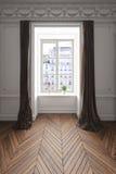 3D a rendu la scène d'appartement avec le plancher en bois Photos stock