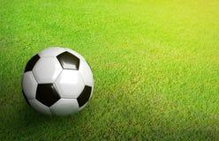 3D a rendu le ballon de football noir et blanc sur le football vert du football Image stock