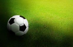 3D a rendu le ballon de football noir et blanc sur le football vert du football Photographie stock libre de droits