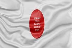 3D a rendu le drapeau pour la coupe du monde 2019 de rugby du Japon Images libres de droits