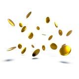 3D a rendu les pièces de monnaie d'or pleut d'isolement sur le fond blanc avec des ombres Photographie stock libre de droits