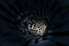 3d rendu, tunnel foncé de la science-fiction, fond foncé image stock
