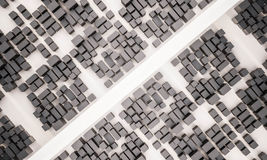 3d rendu, vue aérienne de ville avec la route Image stock