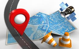 3d repair cones. 3d illustration of city map with location pin and repair cones Royalty Free Stock Image