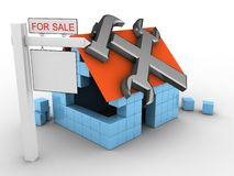 3d repair symbol. 3d illustration of block house over white background with repair symbol and sale sign Stock Photography