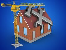 3d repair symbol. 3d illustration of bricks house over blue background with repair symbol and crane Stock Photo
