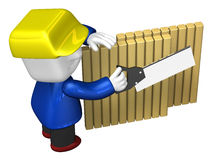 3d repairman working with his saw. 3D Square Man Series. Royalty Free Stock Image