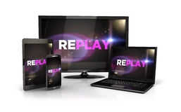 3d replay screen on computer devices Royalty Free Stock Images