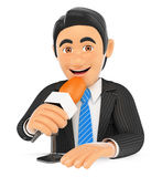 3D Reporter talking on a microphone. 3d business people. Reporter talking on a microphone. White background Royalty Free Stock Photography