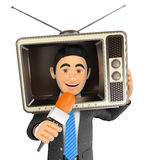3D Reporter with a vintage television in the head and microphone Stock Photos
