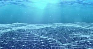 3d representación abstracta, movimiento superficial digital dinámico azul del plexo de la tecnología en fondo subacuático de la p stock de ilustración