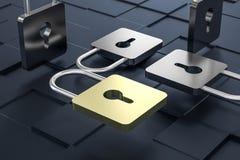 3d representación, cerradura del metal con el fondo digital del concepto stock de ilustración