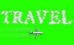3D representación, concepto del viaje escrito en la pantalla del verde de la llave de la croma con la mosca del aeroplano del tur Fotografía de archivo