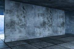 3d representación, el cuarto vacío abandonado en la noche stock de ilustración