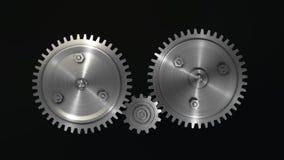 3D representación, engranajes del metal plateado fotografía de archivo