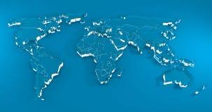 3D representación, hielo, mapa del mundo de cristal ilustración del vector