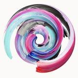 3d representación, movimiento torcido abstracto del cepillo, chapoteo de la pintura, salpicadura, círculo colorido, espiral artís ilustración del vector
