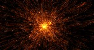 3D representación, oro caliente de la onda de choque cósmica abstracta de la explosión metrajes