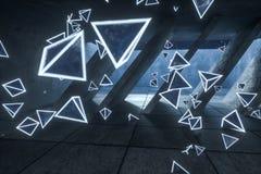 3d representación, triángulos mágicos que brillan intensamente en el sitio abandonado, fondo oscuro imágenes de archivo libres de regalías