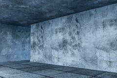 3d representaci?n, el cuarto vac?o abandonado en la noche ilustración del vector