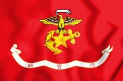 3D Repubblica Coreana Marine Corps Flag Fotografie Stock