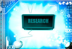 3d  research text on screen and with mouse illustration Stock Photos