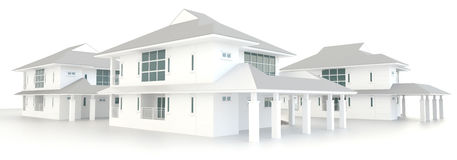 3D residential estate architecture exterior design Stock Photography