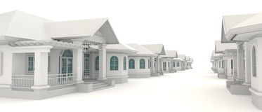 3D residential village design in white background Royalty Free Stock Photography