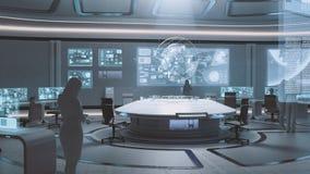 3D reso, interno moderno e futuristico del centro di comando con la gente Immagine Stock