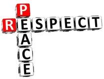 3D Respect Peace Crossword Stock Photos