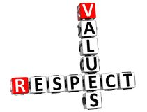 3D Respect Values Crossword Royalty Free Stock Image