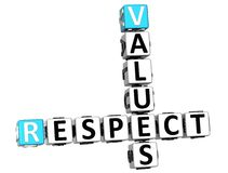 3D Respect Values Crossword. On white background Royalty Free Stock Images