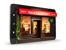 3d restaurant inside tablet Stock Image