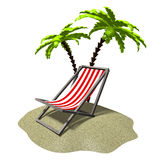 3D resting, palm trees concept Royalty Free Stock Photography