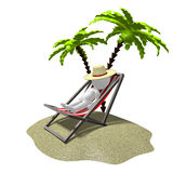 3D resting, palm trees concept Royalty Free Stock Image
